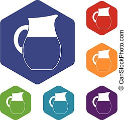 Pitcher of milk icons set