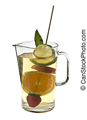 Pitcher of White Wine Sangria - White wine sangria with...