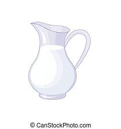 Pitcher With Fresh Milk, Based Product Isolated Icon
