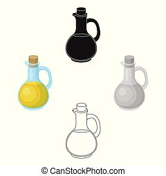 Pitcher with olive oil. Olives single icon in cartoon, black style vector symbol stock illustration web.
