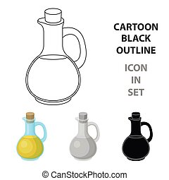 Pitcher with olive oil. Olives single icon in cartoon style vector symbol stock illustration web.
