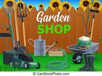 pitchfork, jardim, carrinho de mão, pá, ferramentas, ancinho