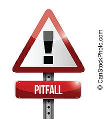 pitfall warning road sign illustration design over a white...