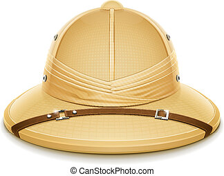 pith helmet hat for safari vector illustration isolated on...