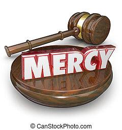 pitié, 3d, mot, juge, marteau, lenient, condamner, tribunal,...