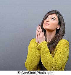 pitié, sur, femme, gris, mendiant, contre, quelque chose, fond, prier, ou