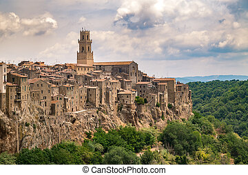 Panorama of Pitigliano, a town built on a tuff rock, one of the most beautiful villages in Italy.