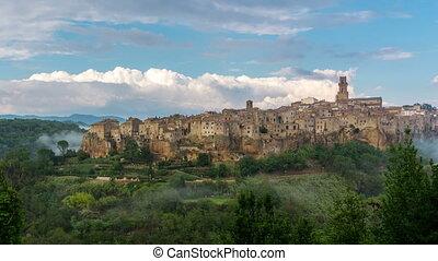 pitigliano, défaillance, temps, ville, vieux, italie