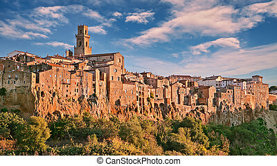 Pitigliano, Grosseto, Tuscany, Italy: landscape in the morning of the medieval village founded in Etruscan time on the tuff hill
