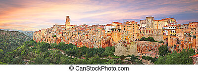 Pitigliano, Grosseto, Tuscany, Italy: panoramic view of the medieval village founded in Etruscan time on the tuff hill