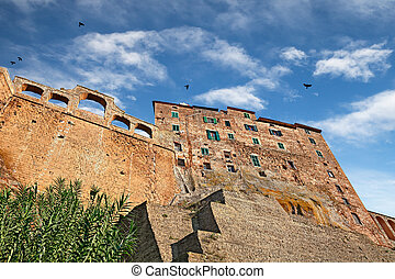 Pitigliano, Grosseto, Tuscany, Italy: picturesque view of the old buildings in the medieval village founded in Etruscan time on the tuff hill