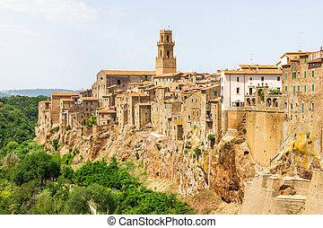 pitigliano, miasto, tuscany, włochy