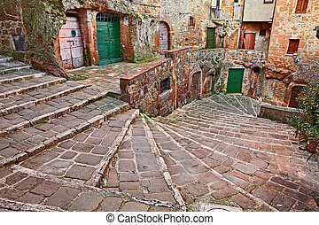 Pitigliano, Tuscany, Italy: ancient staircase in the old town