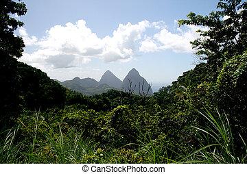 Piton Mountains, St Lucia - The Piton Mountains on the...
