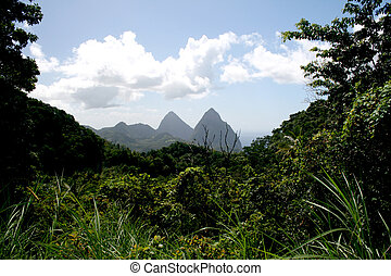Piton Mountains, St Lucia - The Piton Mountains on the...