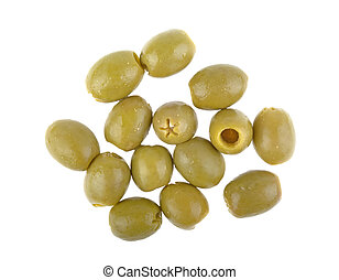 pitted green olives on a white background isolated
