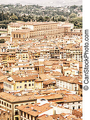 Pitti palace in Florence, Tuscany, Italy, yellow filter