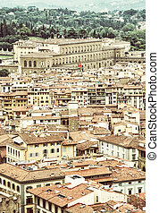 Pitti palace in Florence, Tuscany, Italy, vintage photo filter
