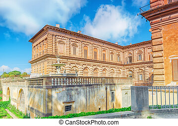 Pitti Square (Piazza pitti) and Palace of Pitti (Palazzo Pitti) in Florence - city of the Renaissance on Arno river. Italy.