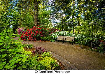 pittock, pad, oregon., portland, sétány, mentén, acres, kert