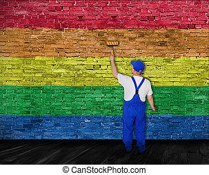 pittore casa, coperchi, parete, con, arcobaleno, bandiera