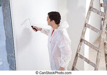 pittore, pittura, parete