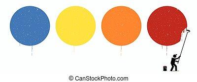 pittore, pittura, quattro, vuoto, cerchi, su, parete, con, differente, colorare, di, blu, giallo, arancia, e, red.