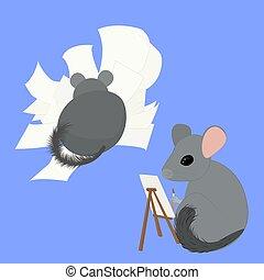 pittore, scrittore, cartone animato, due, chinchillas, artisti, grigio