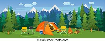 pittoresco, paesaggio, viaggiante, campeggio
