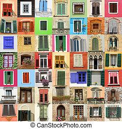 pittoresco, vecchia moda, windows, collage