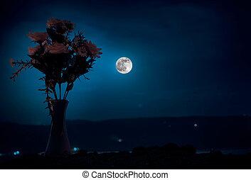 pittoresk, purpur, vår blommar, in, glas vas, stående, i en ro, på, a, skum fond, med, stjärnor, och, måne