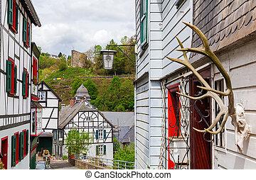 pittoresque, allemagne, townscape, monschau
