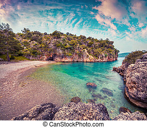 pittoresque, méditerranéen, marine, dans, turkey., lever...