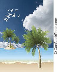 pittoresque, plage tropicale