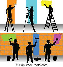 pittori, colorare, lavorante, vario