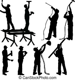 pittori, silhouette, muratori