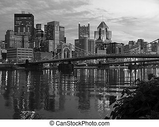 Pittsburgh and the Ohio River Black and White