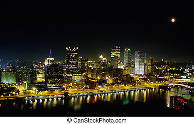 Pittsburgh at Night - A night shot of Pittsburgh taken from...