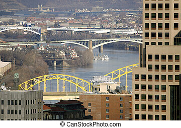 Pittsburgh Bridges - North shot over downtown Pittsburgh