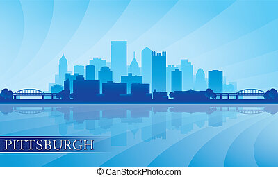 Pittsburgh city skyline silhouette background. Vector ...