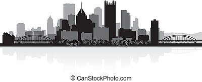 Pittsburgh city skyline silhouette - Pittsburgh USA city ...