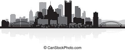 Pittsburgh city skyline silhouette - Pittsburgh USA city ...