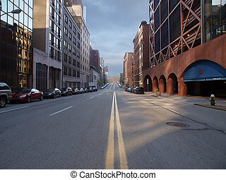 Pittsburgh City Street - Pittsburgh city street with Montana...