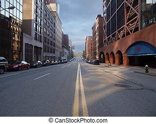 Pittsburgh City Street - Pittsburgh city street with Montana...
