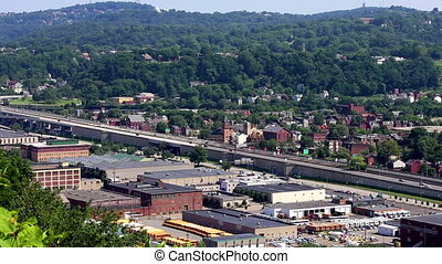 Pittsburgh clip of highway and city view - U.S.A. Pittsburgh...