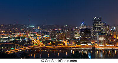 pittsburgh, contorno, panorama.