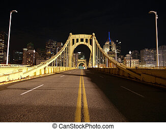 Pittsburgh Night Bridge - Yellow bridge leading to downtown ...