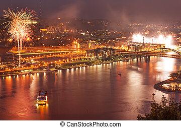 Pittsburgh North Shore at night