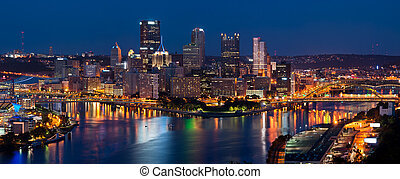 pittsburgh, orizzonte, panorama.