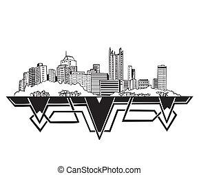 Pittsburgh, PA Skyline. Black and white vector illustration EPS 8.